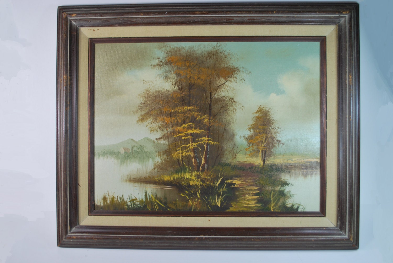 Sale Vintage Framed Landscape Oil Painting Signed Wilson