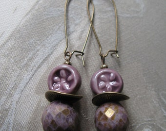 plum earrings, purple earrings, lavender earrings, purple drops, casual earrings, mauve earrings, fun earrings - Plum Dangles earrings