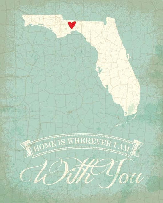 Florida Map Art State Poster 8 X 10 Typographic By TheNoblePig