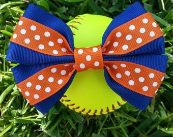 Blue with orange polka dots bow