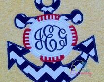 Nautical Anchor life saver Monogram Applique Embroidery Designs Design Monogram