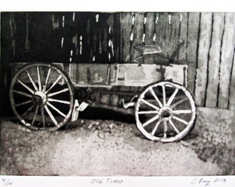 "Wagon, Aquatint Etching,  ""Old Timer"" Limited Edition"