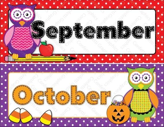 Calendar Months Cards Owl Polka Dot Hobo by ConfettiGraphics