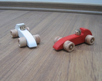 Set of two wooden sports cars - Red and white racing cars toy - Wooden toy cars with peg drivers