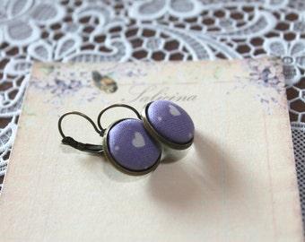 plated HEART earrings Lavender background