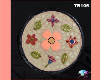 Mosaic  Trivet for Bedroom or Kitchen Handmade with Handmade tiles and Glass Tiles TR105
