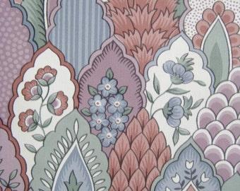 Vintage 80s Wallpaper Acorn Floral Rose Blue Egg Pattern Wallpaper