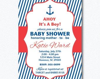 PRINTABLE Nautical Baby Shower Boy Invitation