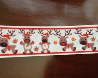 """Christmas reindeer grosgrain ribbon. 1"""" wide by 2 yards, Christmas Ribbon, Ribbon"""