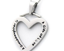 Granddaughter Necklace Stainless Steel Heart Pendant Gifts for Her, Gifts for Women