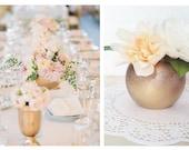 Small Bronze and Gold Round Glass Vase - Wedding Centerpiece Decoration