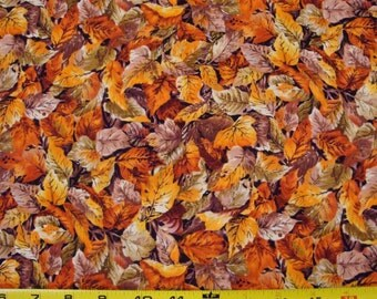 """Fall Leaves """"RiverWood"""" for Troy Fabrics Sold by the Half Yard"""