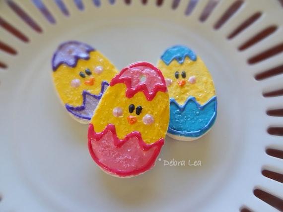 SALE! Set of 3 Handmade Fake Cookie Faux  Easter Sugar Cookie Set Chicks in Eggs