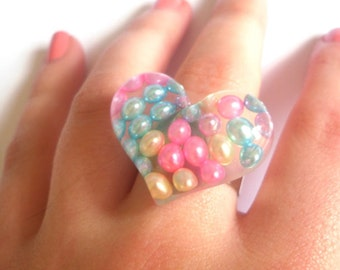 Cute Large Kawaii Pearl Resin Heart Cabochon Ring, Kitsch, Retro, Quirky, Barbie