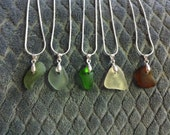 Group of 5 Beach Glass Necklaces of varity of colors