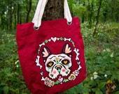 Hand Painted Sugar Skull Canvas Bag French Bulldog