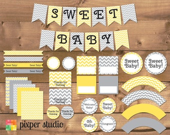 INSTANT DOWNLOAD - Chevron Baby Shower - Yellow and Gray - Yellow and Grey