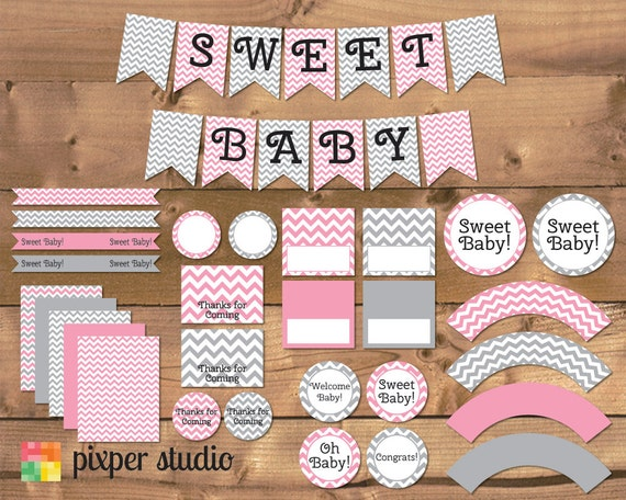 instant download chevron baby shower pink and gray pink and grey