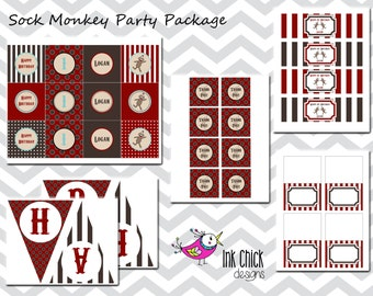 Sock Monkey Party Package - Printable
