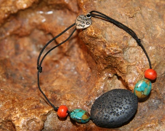 Bracelet volcano stone 'Origin' turquoise inspired from world creating stylized by Sunstone Legend