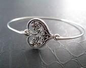 Silver Ornate Heart Bangle - Silver Heart Bracelet - Heart Jewelry - Silver Jewelry - Heart Bangle