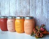 Pumpkin Harvest,  Fall, Mason Jars, Painted Mason Jars,Wedding Decor,Wedding Decorations,Bridal Shower, Table Settings, Decor, Hostess Gift