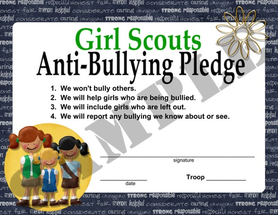 Girl Scouts Anti Bullying Pledge by ChaoticCraftsbyKris on ...