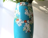 Royal Doulton Vase - 1920s Vase -  Blue and White Enamelled flowers - Blossoms