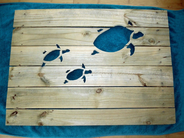 Wooden Beach Wall Decor : Pallet turtle wall art wood beach home decor