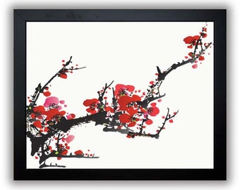 Tree Wall Decor Tree Print Cherry Blossoms Tree Branch Print Red Flowers Tree Art Print Modern Minimalist