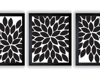 Flower Print Black Chrysanthemum Flower White Set of 3 Art Print Wall Decor Bathroom Modern Minimalist