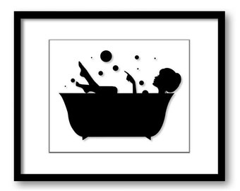 Bathroom Decor Bathroom Print Black White Girl With Hair Up In A Bathtub  Tub Bathroom Art