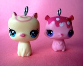 Set of 2 MIni Toy Pet Charms - Pig and Squirrel- Super Cute Kawaii Custom Gift Toy Supplies Charm
