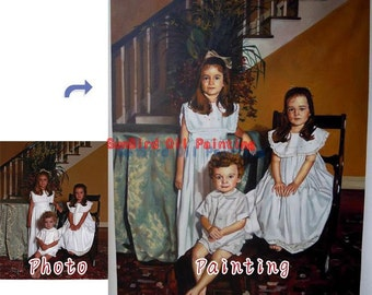 Custom portrait painting,Oil painting,family oil portrait painting from photos,custom oil portrait on canvas in any size,Three Person
