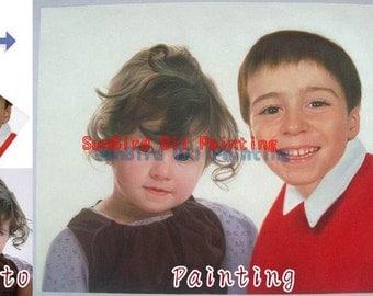 Custom oil portrait painting,original oil painting,Children oil portrait from photos,baby portrait,kids portrait,family portrait,Two Person