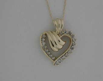 Natural Diamond Heart Pendant Solid 10kt Yellow Gold