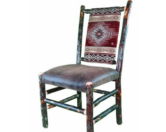 Rustic Hickory Upholstered Seat and Back Dining Chair shown with Southwest Red Diamond Fabric