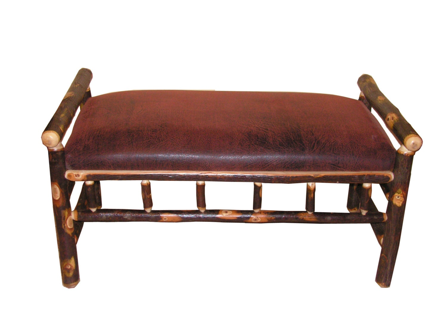 Rustic Hickory Bench Upholstered With Faux Leather Fabric