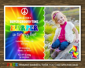 Tie Dye Birthday Invitation - Printable - FREE pennant banner and thank you card with purchase