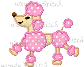 Poodle dog applique machine embroidery design digital pattern