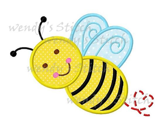 Happy bumble bee applique machine embroidery design digital