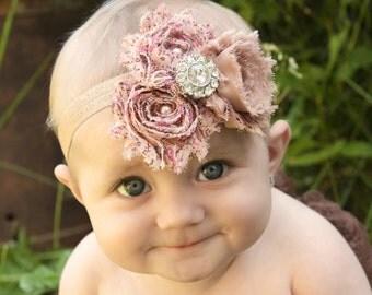 Vintage Baby Headbands Shabby Headband Girl Shabby Chic Head Band Newborn Headband Flower Headband Baby Girl Headband Flower Girl Headband
