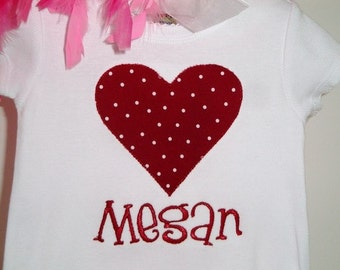 Personalized Heart Embroidered Shirt - Personalized Valentine Shirt - Heart Shirt - First Valentines Day - Valentines Day Shirt - Girl Shirt