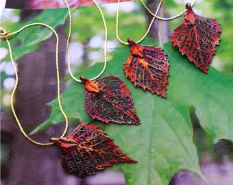 Wedding Bridesmaid Necklace Pendant Set, FOUR (4) Real Birch Leaves, Iridescent copper, chice of chains. Barn wedding