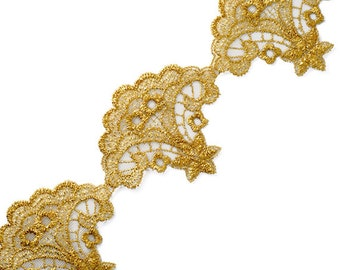 Metallic Gold Lace Trim, Crafts and Sewing, 2-5/8 Inch by 1 Yard, LP-1680