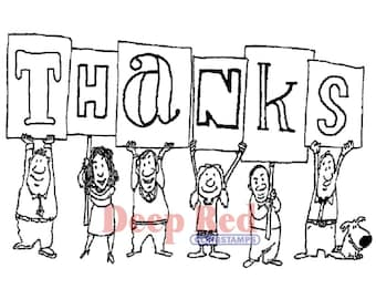 Group Thanks - Deep Red repositionable cling rubber stamps