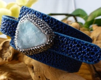 LIZARD  skin,natural Druzy IN STERLING ,wrap bracelet,adjustable size .