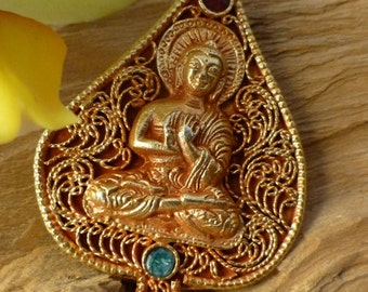 Fabulous Buddah sterling pendant with Emerald and Ruby gem Stones,hand made.
