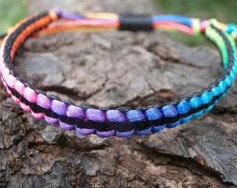 Rainbow and black nylon cord macrame bracelet, reversable, adjustable