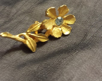 Vintage Flower Pin with Rhinestone Accent